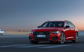 Картинка красный, Audi, аэродром, универсал, 2019, A6 Avant, S6 Avant