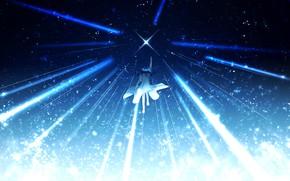 Картинка небо, девушка, ночь, звезда, фэнтези