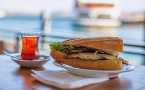 Картинка fish, tea, turkey, sandwich