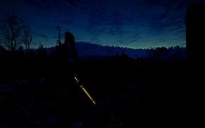 Картинка Ночь, Меч, Руны, The witcher 3 wild hunt