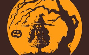 Картинка Halloween, ведьма, полнолуние, хеллоуин, светильник Джека, горящие глаза, witch, шляпа ведьмы, адская ухмылка, корявое дерево