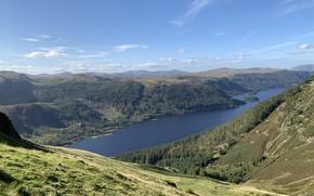 Картинка Sky, Mountains, Lake, Cumbrian Mountains, Helvellyn
