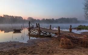Картинка туман, река, утро