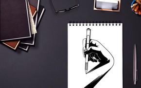 Картинка стол, рисунок, блокнот, авторучка, Cdd20, 愚木混株