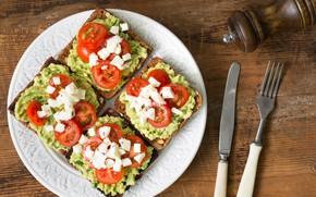 Картинка бутерброд, помидор, авокадо, фета
