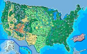 Картинка Карта, Стиль, USA, США, United States, Пиксели, 8bit, Пиксель, 16bit, Pixel, Map, Illustration, Соединенные Штаты …