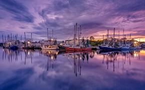Картинка отражение, лодки, вечер, водоем, сиреневые тона
