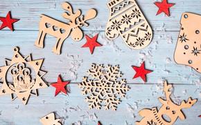 Картинка зима, украшения, снежинки, дерево, Новый Год, Рождество, Christmas, wood, winter, background, wooden, New Year, snowflakes, …