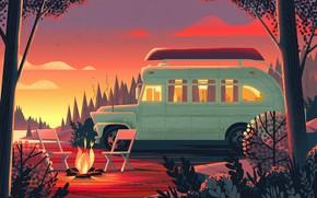 Картинка берег, стулья, автомобиль, костёр, Nomadic Homes Illustrations