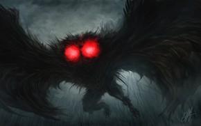 Картинка страх, монстр, ужас, нечисть, горящие глаза, в темноте, черные крылья, ночной кошмар, Mofman, Mothman, Человек …