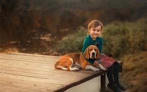 Картинка природа, животное, доски, собака, девочка, ребёнок, пёс, бигль, Екатерина Борисова