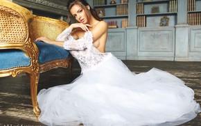 Картинка взгляд, девушка, поза, невеста, свадебное платье, Степан Квардаков, Юлия Зубова