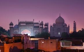 Картинка ночь, город, Индия, Тадж-Махал, подсветка, башни, архитектура, купола, Агра, мавзолей-мечеть
