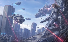 Картинка armor, cyberpunk, digital art, artwork, fantasy art, cyborg, futuristic