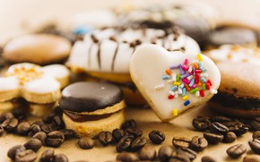 Картинка еда, печенье, десерт, выпечка, глазурь, Chocolate, Cookie, Coffee beans