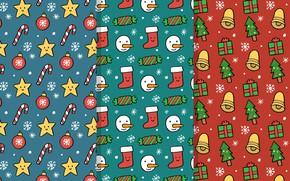 Картинка фон, новый год, текстура, christmas, Colorful, pattern, collection