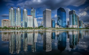 Картинка Бангкок, Тайланд, город, здания, река