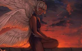 Картинка Закат, Девушка, Рисунок, Ангел, Girl, Крылья, Арт, Art, Sunset, Angel, Wings, Figure, Нимб, Nimbus, by …