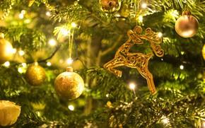 Картинка праздник, шары, олень, Новый год, декор