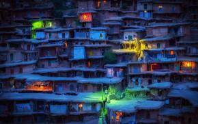 Картинка ночь, огни, вечер, деревня, домики, Иран, трущобы, Sar Aqa Seyyed