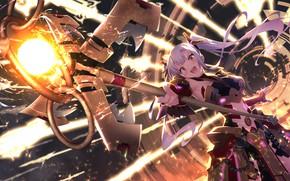 Картинка девушка, посох, games, anime, art, The World's End Fallen Star