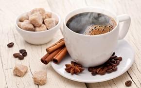 Картинка кофе, сахар, корица, анис