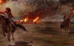 Картинка люди, война, лошади