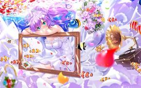Картинка девушка, цветы, рамка, Azur Lane
