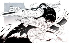 Картинка sword, anime, Berserk, manga, berserker, Black Swordsman, Guts, Dragon Slayer, Casca, The Black Witch