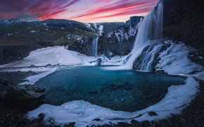 Картинка закат, горы, скала, река, водопад, лёд, Исландия, Iceland, Skutafoss, Водопад Скутафосс