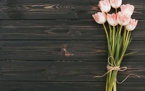 Картинка цветы, букет, тюльпаны, розовые, wood, pink, flowers, tulips
