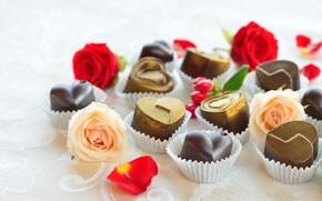 Картинка конфеты, сердечки, шоколадные