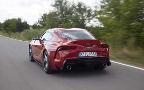 Картинка красный, движение, купе, сзади, Toyota, Supra, пятое поколение, mk5, двухместное, 2019, GR Supra, A90, Gazoo …