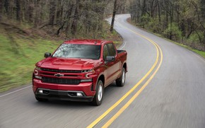 Картинка дорога, красный, Chevrolet, пикап, Silverado, 2019, RST