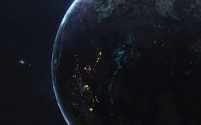 Картинка Ночь, Город, Станция, Планета, Космос, Свет, City, Light, Арт, Space, Art, Космический Корабль, Planet, Station, …