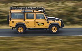 Картинка дорога, внедорожник, Land Rover, вид сбоку, Defender, V8, 5.0 л., 2021, Works V8 Trophy, 405 …