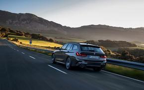 Картинка движение, BMW, 3-series, универсал, Touring, 3er, 2019, тёмно-серый, G21