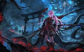Картинка цветы, девушки, меч, самурай, pixiv fantasia, stu dts