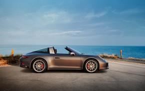 Картинка берег, Porsche, 4x4, Biturbo, тарга, спецверсия, 911 Targa 4 GTS, Exclusive Manufaktur Edition