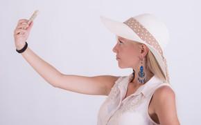 Картинка девушка, шляпа, блондинка, телефон, селфи