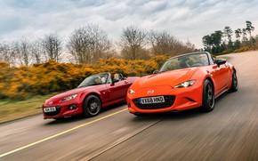 Картинка оранжевый, красный, Mazda, MX-5, родстеры, четвёртое поколение (ND), третье поколение (NC)