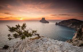 Картинка море, пейзаж, закат, природа, скала, красота