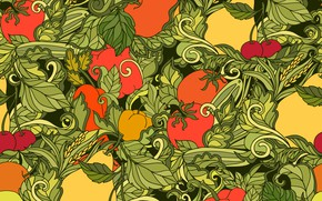 Картинка абстракция, фон, текстура, pattern, fruits, vegetables, Leaves, seamless