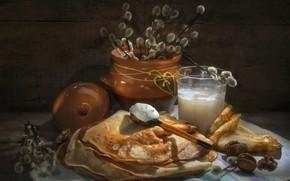 Картинка ветки, стакан, полотенце, ложка, орехи, блины, верба, горшочек, сметана, Владимир Володин