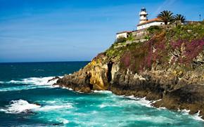 Картинка море, пейзаж, природа, скала, маяк, Испания
