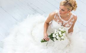 Картинка девушка, букет, платье, прическа, невеста, свадьба, эустома, Oleksii Hrecheniuk