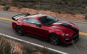 Картинка дорога, машина, асфальт, полоски, красный, стиль, разметка, купе, спойлер, Ford Mustang Shelby GT500