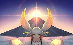 Картинка закат, крылья, девочка, Kemono Friends