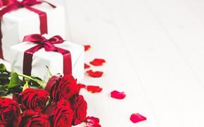 Картинка праздник, розы, букет, подарки