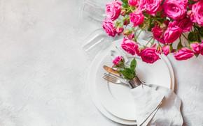 Картинка цветы, букет, ваза, сервировка